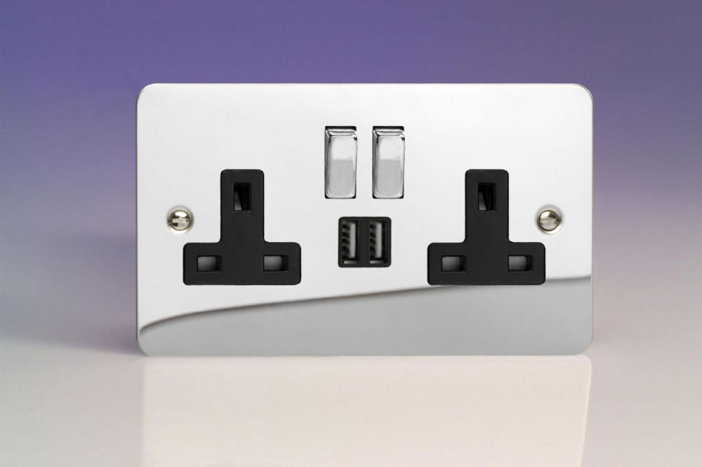 Varilight 2 Gang 13a Double Pole Switched Socket With